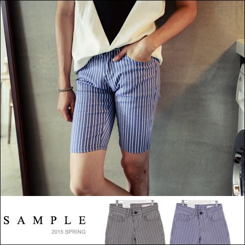 現貨 五分褲【SA12015】韓國製 硬挺版直條紋休閒短褲【Sample】-UPSET