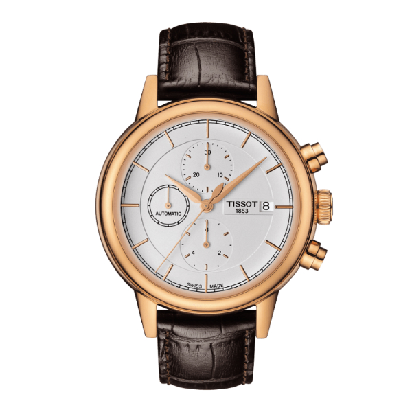 TISSOT天梭T0854273601100 CARSON 玫瑰金經典機械計時腕錶/白面42.3mm
