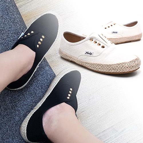 休閒鞋-帆布鉚釘編織邊懶人鞋-預購