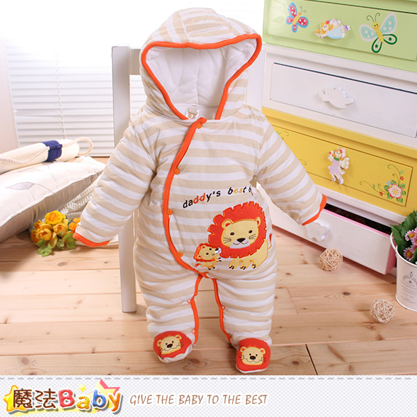 嬰兒保暖連身衣 加厚鋪棉極暖連帽包腳連身衣 魔法Baby~k60275