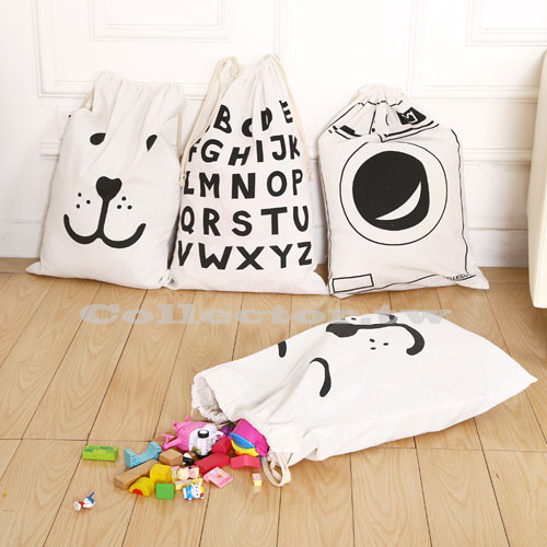 【F16113005】創意塗鴉超大加厚版棉麻束口袋 衣物收納袋 家居雜物整理袋 束繩加大帆布袋