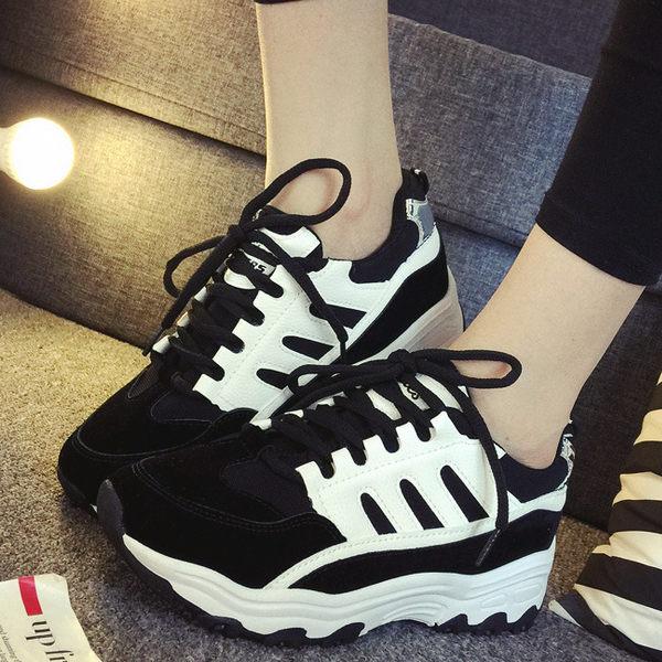 休閒鞋韓版厚底綁帶接色黑色※版型偏小-JC Collection