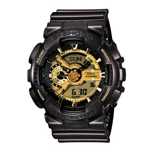 CASIO G-SHOCK GA-110BR-5A熱銷黑金雙顯流行腕錶/金面51mm