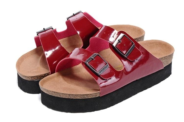 Arizona 厚底系列 夏季 男女款 懶人涼拖鞋 漆皮紅色 [Anson King]Outlet正品代購  birkenstock