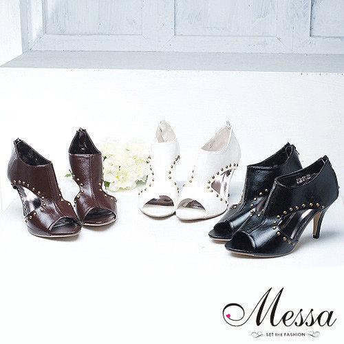 【Messa米莎】夏日羅馬曲線鉚釘簍空高跟涼鞋(共三色)