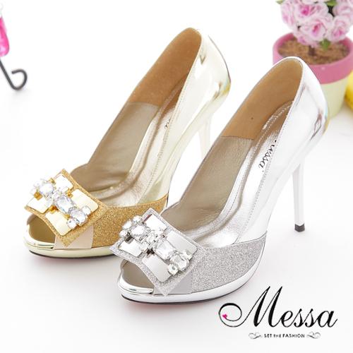 【Messa米莎】(MIT)玩美亮粉水鑽羊皮魚口高跟鞋-兩色