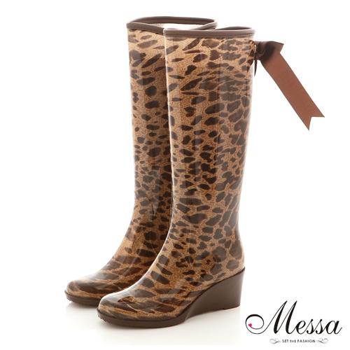 【Messa米莎】日系俏皮後蝴蝶結長筒雨靴-豹紋色