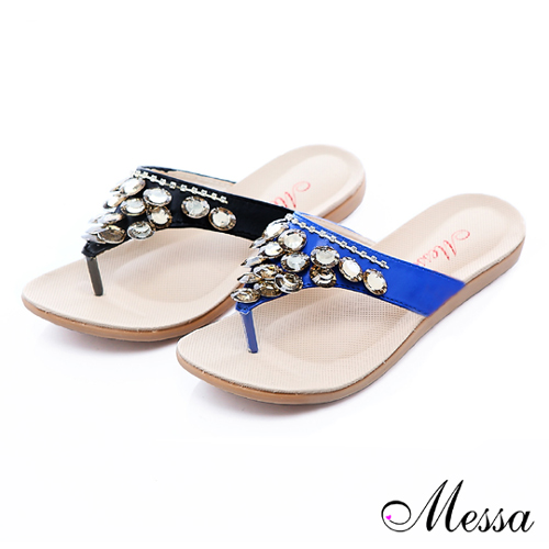 【Messa米莎】質感亮麗晶鑽平底涼拖鞋-兩色