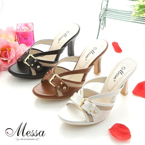 【Messa米莎】(MIT) 復古皮帶造型簍空厚底涼拖鞋(共三色)