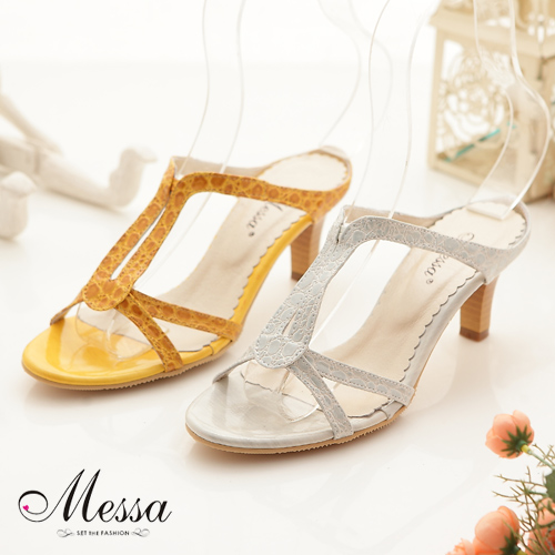 【Messa米莎】(MIT)仿鱷紋漆皮簍空高跟涼拖鞋(共兩色)