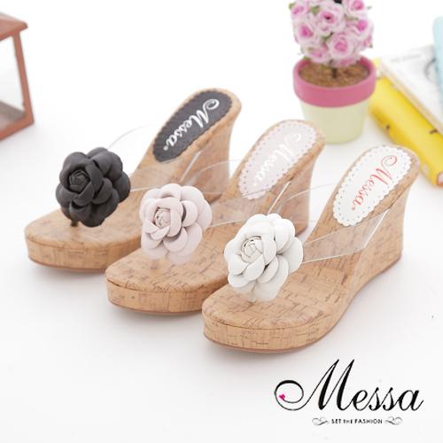 【Messa米莎】(MIT)夏日立體山茶花夾腳軟木楔型鞋-三色
