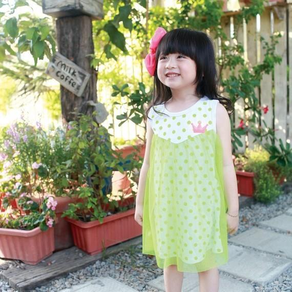 【班比納精品童裝】點點網紗背心洋裝-綠黃【BD140414015】
