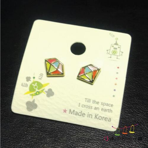 飾品耳環手鍊-可愛小小耳環-七彩鑽石