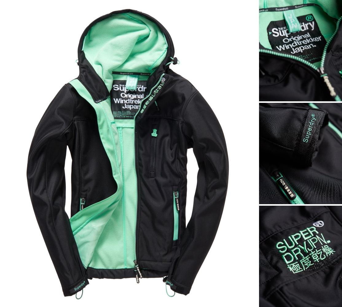 【女款】Superdry極度乾燥連帽Windtrekker防風衣夾克運動休閒防風耳機孔舒適外套黑色/薄荷綠/淺灰/粉