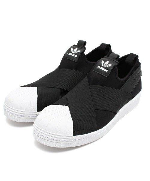 【蟹老闆】Adidas 愛迪達 Adidas Superstar Slip On W 交叉綁帶 貝殼頭 黑白 男段 女鞋
