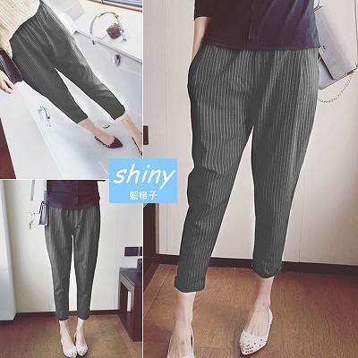 【V1285】shiny藍格子-百搭風尚.寬鬆顯瘦豎條紋九分哈倫長褲