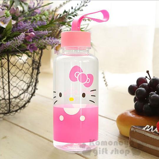 〔小禮堂韓國館〕Hello Kitty 隨身冷水瓶《380ml.透明.粉蓋.大臉半身》不含雙酚A
