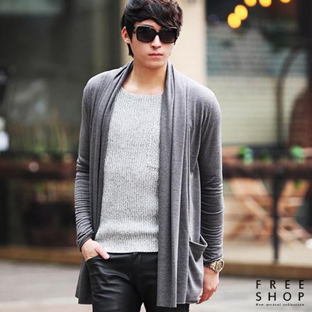 Free Shop 韓版型男英倫雅痞質感造型百搭黑灰色系棉質中長版披肩薄罩衫外套 有大尺碼【QTJMT07】