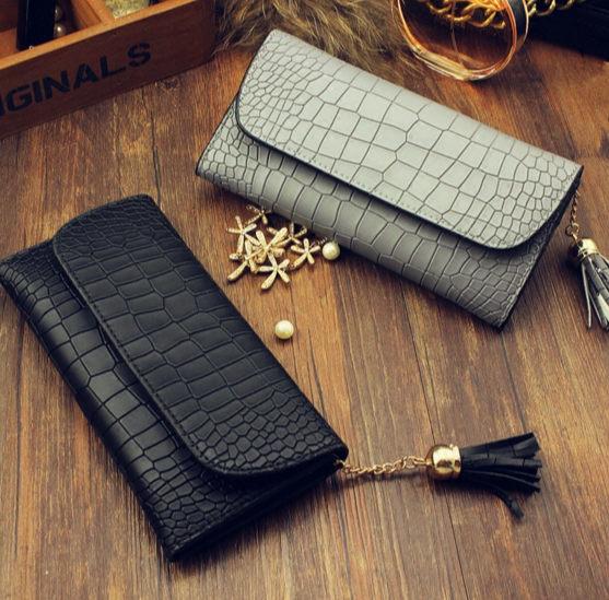 (預購)2015新款 韓版鱷魚紋 流蘇簡約手拿包 皮夾 錢包 長夾