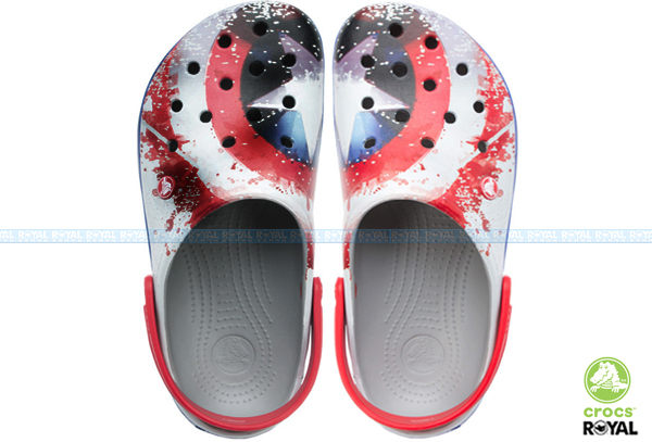CROCS 卡駱馳 新竹皇家 美國隊長盾牌  卡駱班 涼拖 洞洞鞋 女款 NO.A7537