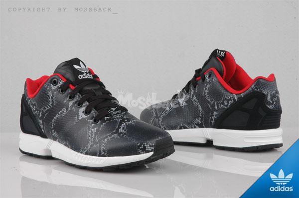『Mossback』ADIDAS ZX FLUX W SNAKE 蛇紋 皮革 慢跑鞋 黑紅(女)NO:B35310