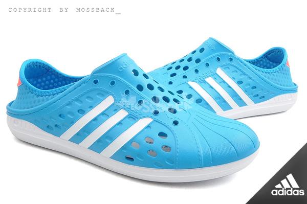 『Mossback』ADIDAS NEO COURT ADAPT 懶人鞋 防水 洞洞鞋 藍白(男女)NO:F97891