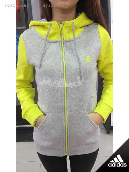 『Mossback』ADIDAS 大領口 連帽 外套 刷毛 保暖 灰螢光黃(女)NO:AH5692
