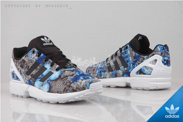 『Mossback』ADIDAS ZX FLUX K 花花 輕量 復古 慢跑鞋 藍碎花(女)NO:S82696