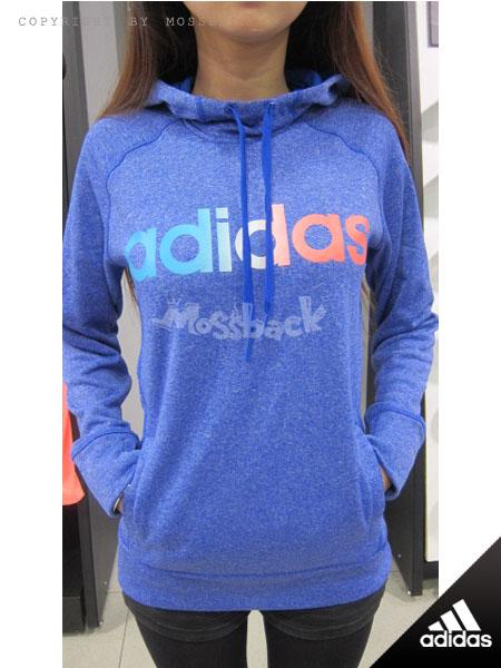 『Mossback』ADIDAS ULT FLC PO LOGO 刷毛 帽T 粉藍(女)NO:AB9882