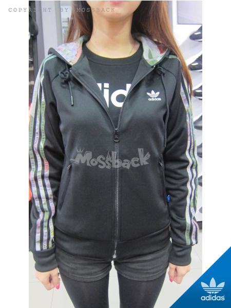 『Mossback』ADIDAS FLOCK HOODIE 連帽 外套 花卉 黑色(女)NO:AJ8413