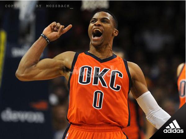 『Mossback』ADIDAS NBA WESTBROOK #0 雷霆隊 客場 球衣 橘色(男)NO:AL7032