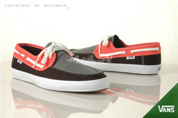 『Mossback』VANS CHAUFFETTE 帆船鞋 SURF系列 特殊鞋墊 黑灰紅(男)NO:41062115