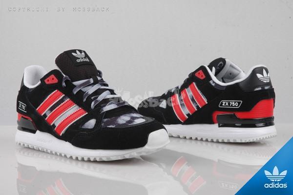 『Mossback』ADIDAS ZX 750 渲染 麂皮 慢跑鞋 復古 黑紅(男女)NO:B34328
