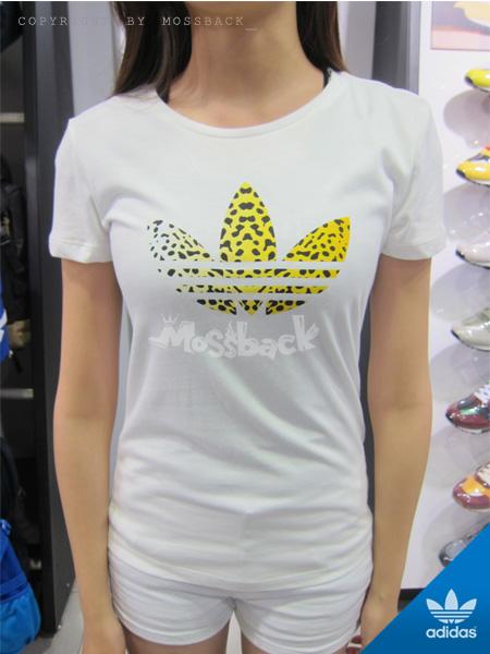 『Mossback』ADIDAS LEO TREFOIL 豹紋 短袖 T恤 白色(女)NO:M30292
