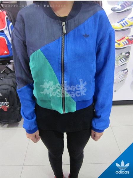 『Mossback』ADIDAS CB TT 棒球 外套 短版 拼接 黑藍綠(女)NO:M69589