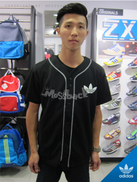 『Mossback』ADIDAS BROOKLYN BASEBALL SHIRT 棒球 短T 排扣 黑白(男)NO:S08235