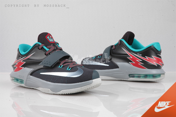 『Mossback』NIKE KD VII GS 閃電 籃球鞋 黑綠紅(大童)NO:669942-005