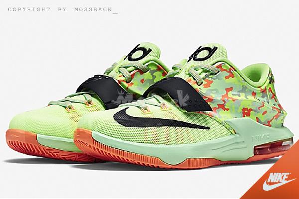 『Mossback』NIKE KD VII GS 迷彩 籃球鞋 螢光綠黃橘(大童)NO:669942-304