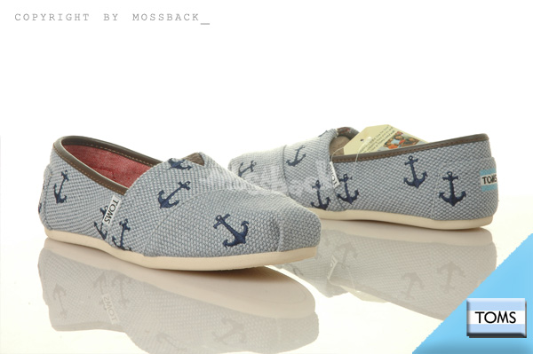 『Mossback』TOMS CLASSICS 帆布 休閒 懶人鞋 平底 航海 海軍藍(女)NO:001146A13LBANC