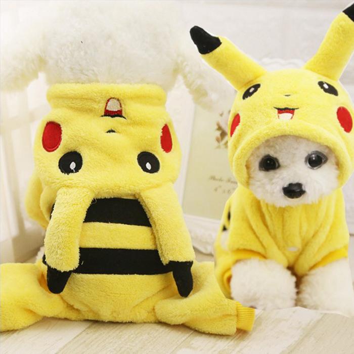 糖衣子輕鬆購【DS218】雙層法蘭絨皮卡丘寶可夢狗狗衣服寵物用品貓咪衣服