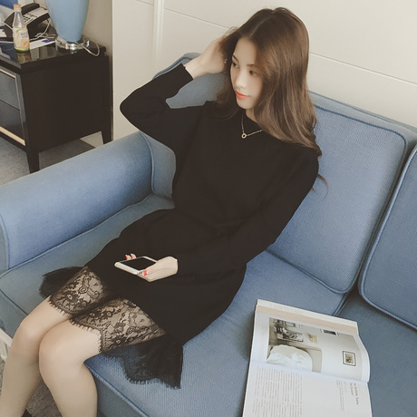 PS Mall 圓領套頭收腰蕾絲拼接長款針織衫連身裙 洋裝【T4312】