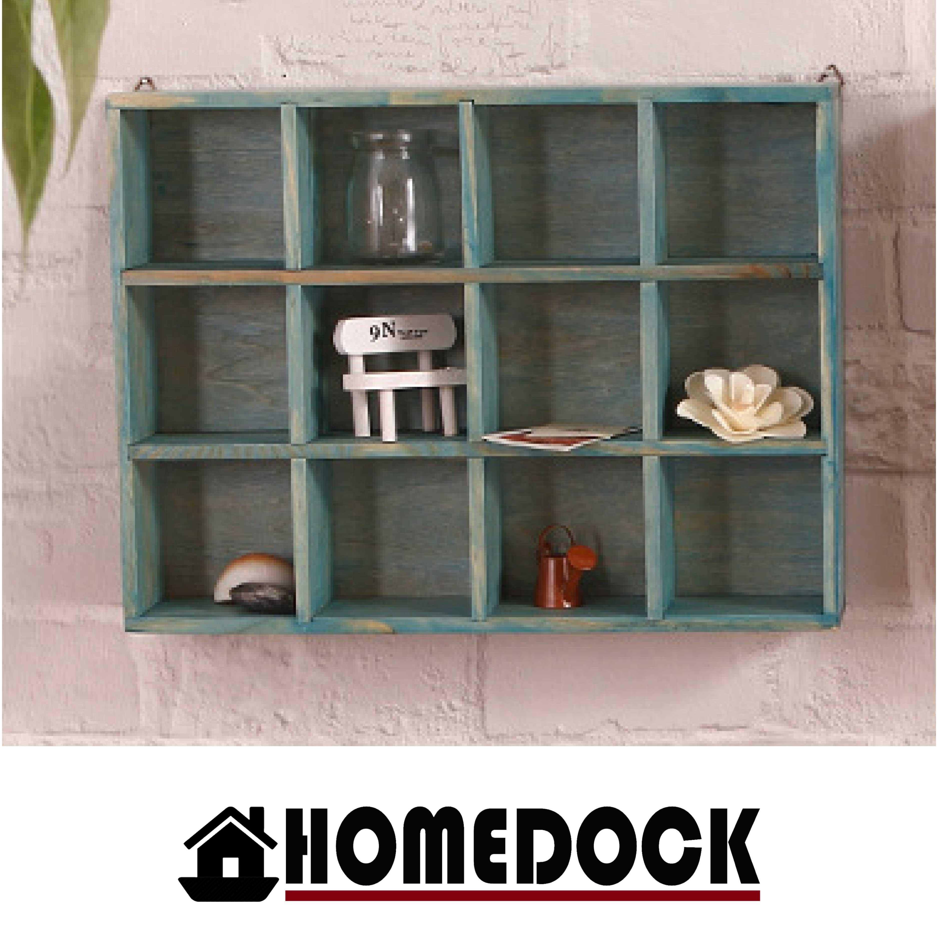 HOMEDOCK-原木質感12格牆面收納櫃 /壁櫃/展示櫃/杯架/收納盒/原木/掛壁