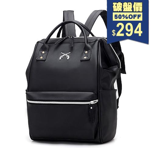 韓版防水個性風雙槍交疊尼龍後背包 手提包 兩用包 中性包 包飾衣院 P1879 現貨+預購