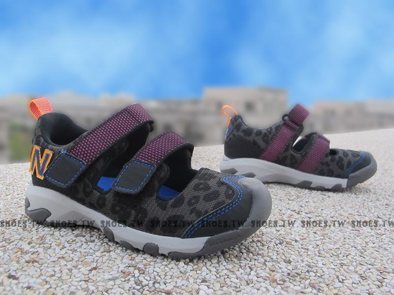 Shoestw【KD555BBI】NEW BALANCE 涼鞋 拖鞋 童鞋 小童鞋 黑豹紋 護指涼鞋 免綁帶