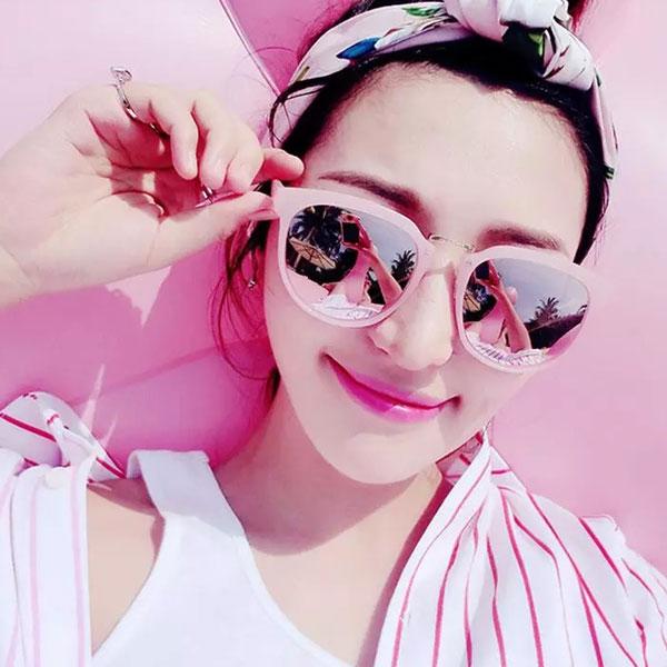 粉紅接金邊 墨鏡 反光鏡面 圓框貓眼 櫻花粉 明星款太陽墨鏡 正韓