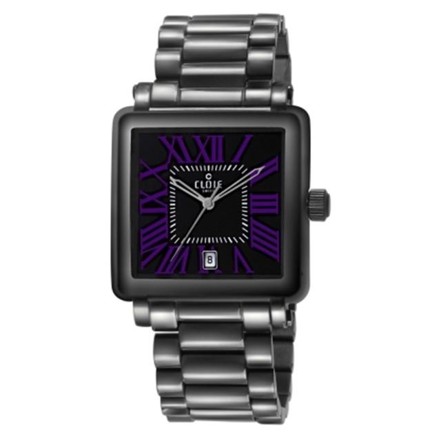 CLOIE 羅馬帝國不鏽鋼時尚腕錶-黑x紫/36mm CL10335-UB21
