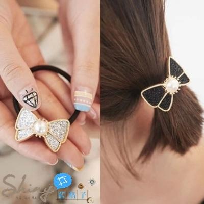 【DJB2313】shiny藍格子-簡約亮片金屬珍珠裝飾蝴蝶結髮圈