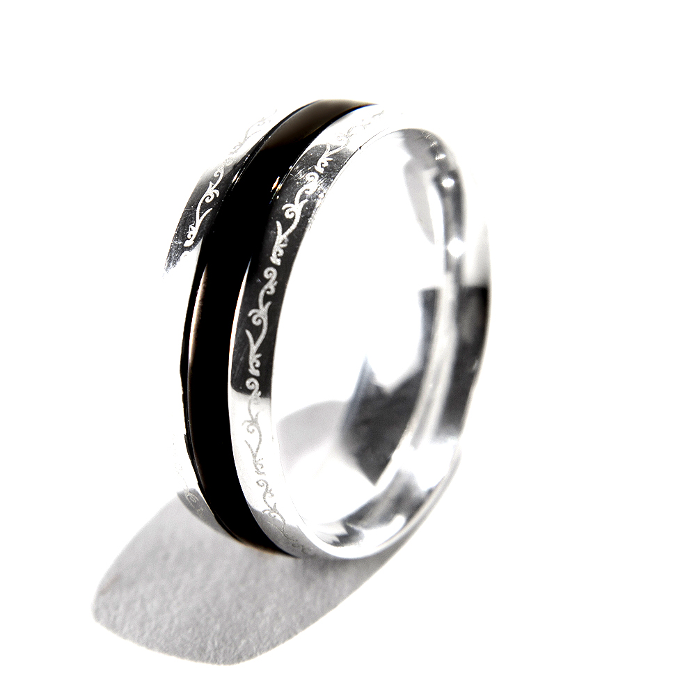 韓國 CLUE 白鋼戒指雕花戒指