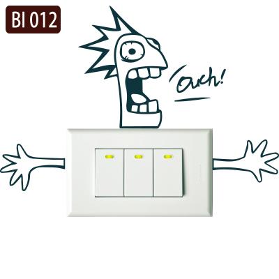 創意時尚無痕環保PVC壁貼牆貼-BI012觸電Ouch開關貼防水不傷牆面可重覆撕貼