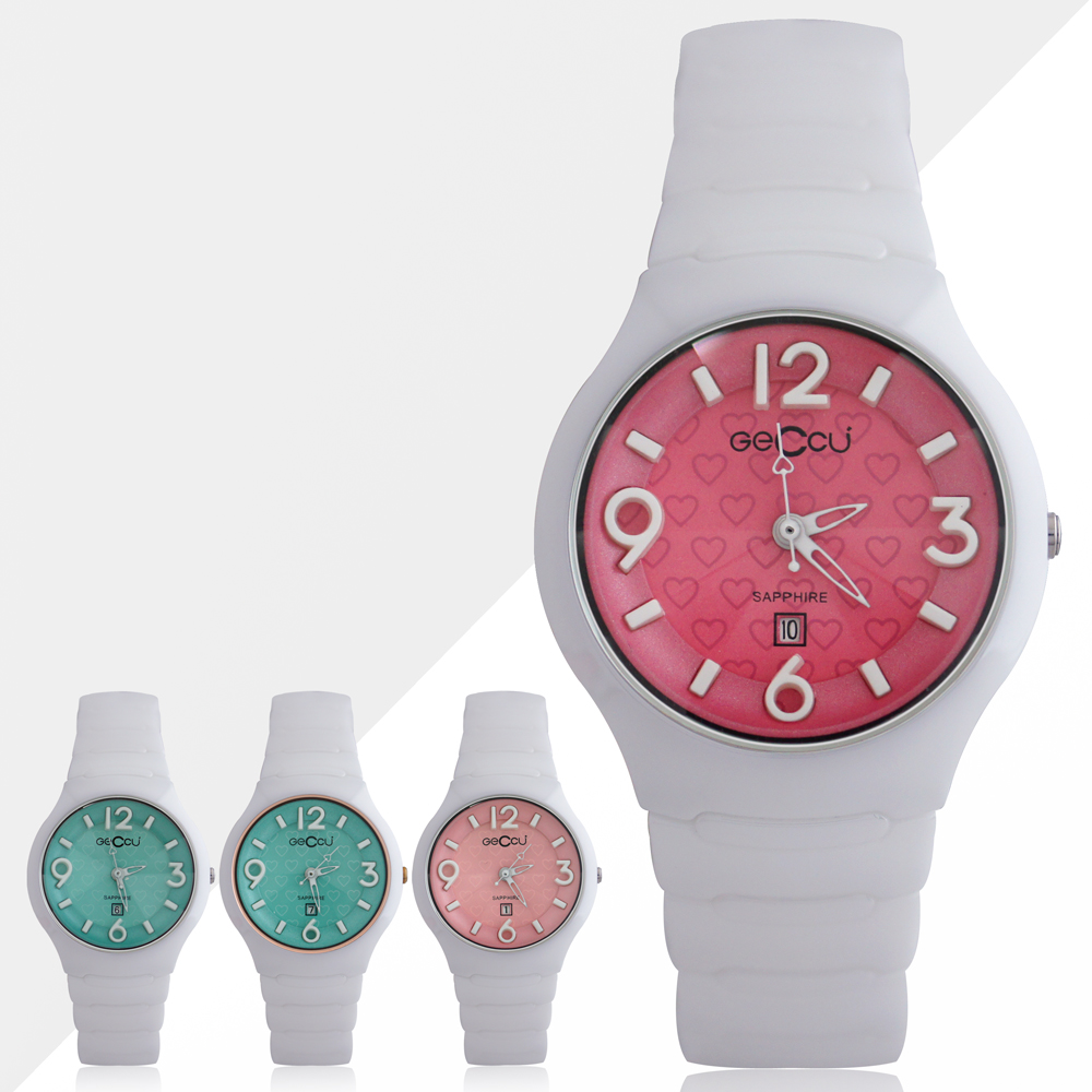 GECCU TC-1115 俏麗可愛心型切玻鏡面白色陶瓷錶帶*4色